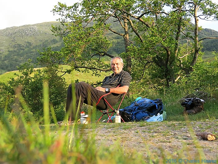 Charles Hawes at his camp near Inverie, Knoydart, Scotland