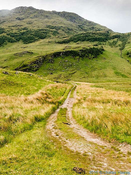 Path approaching Meall Buidhe Munro, photographed by Charles Hawes
