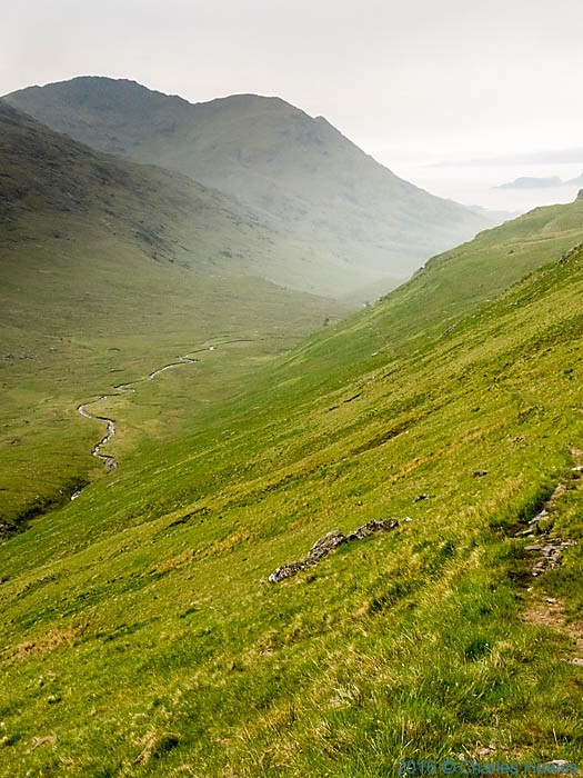 View down Glenn Meadail from below Meall Buidhe, Knoydart, Scotland, photographed by Charles Hawes
