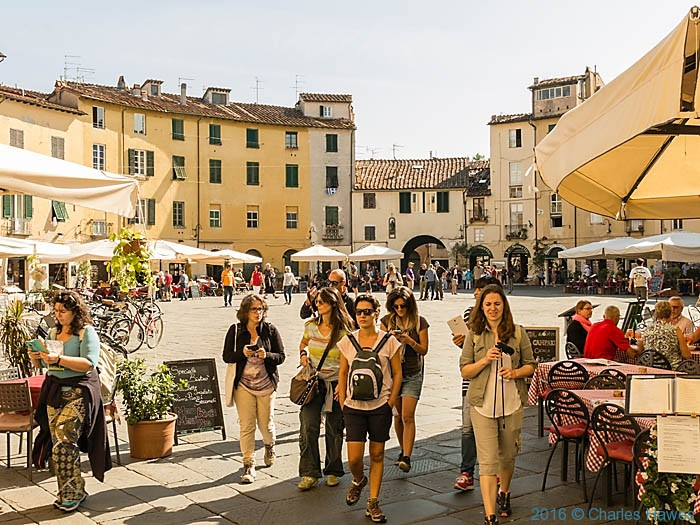 The elliptical Piazza Anfiteatro, Lucca, was based on a roman amphitheatre but architecturally was created around 1830