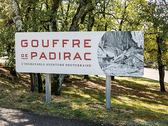 Sign for Gouffre de Padirac, France, photographed by Charles Hawes