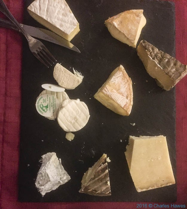 Cheese Board in the Hotel Fenelon, Carennac, France, photographed by Charles Hawes