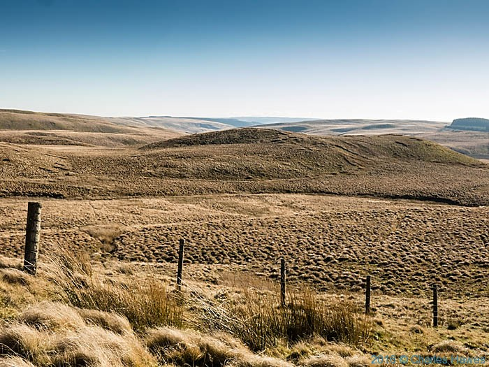 Moorland near Garn Gron in Ceredigion, photographed from The Cambrian way by Charles Hawes
