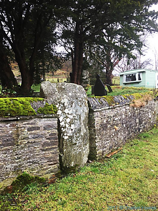 Wall of St John The Baptist church, Ysbyty Cynfyn, photographed from the Cambrian Way by Charles Hawes