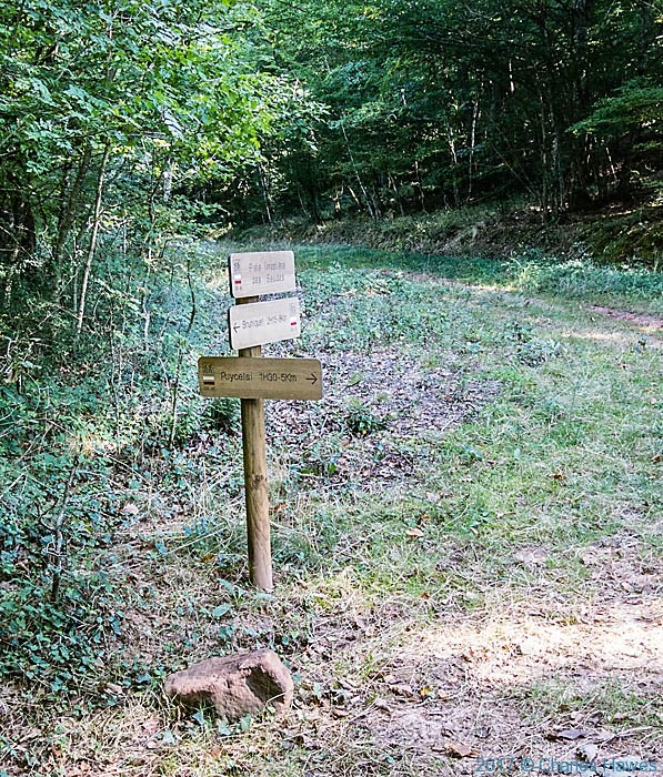 Footpath sign for Puycelsi in the Forest of Gresigne, France, photographed by Charles Hawes
