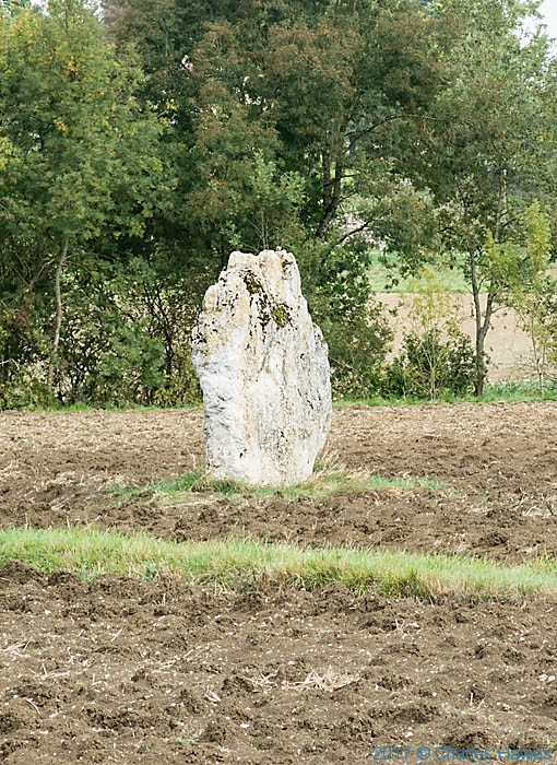 Menhir near Vieux, France, photographed by Charles Hawes
