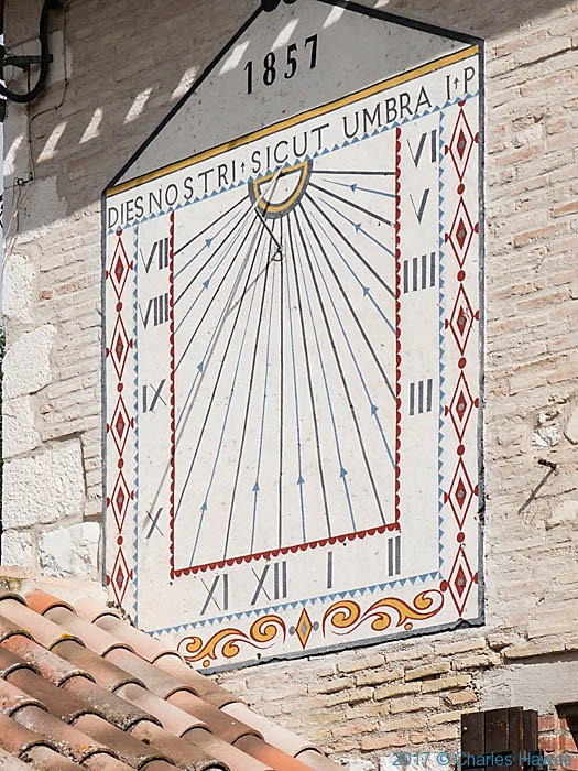 Sundial on Marie, Vieux, France, photographed by Charles Hawes