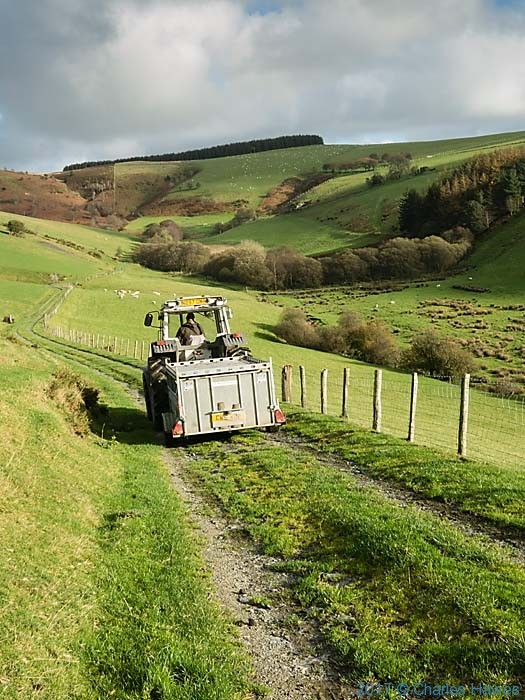 Tractor on the Cambrian Way near Commins Coch, photographed by Charles Hawes