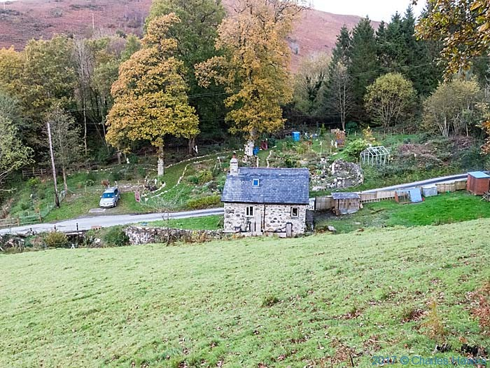 House and garden near Commins Coch, photographed from the Cambrian Way by Charles Hawes