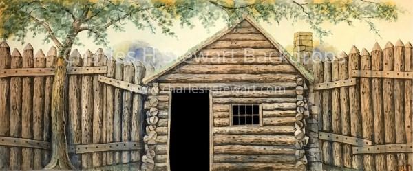 Log Cabin Exterior Cut Backdrop - Backdrops Charles