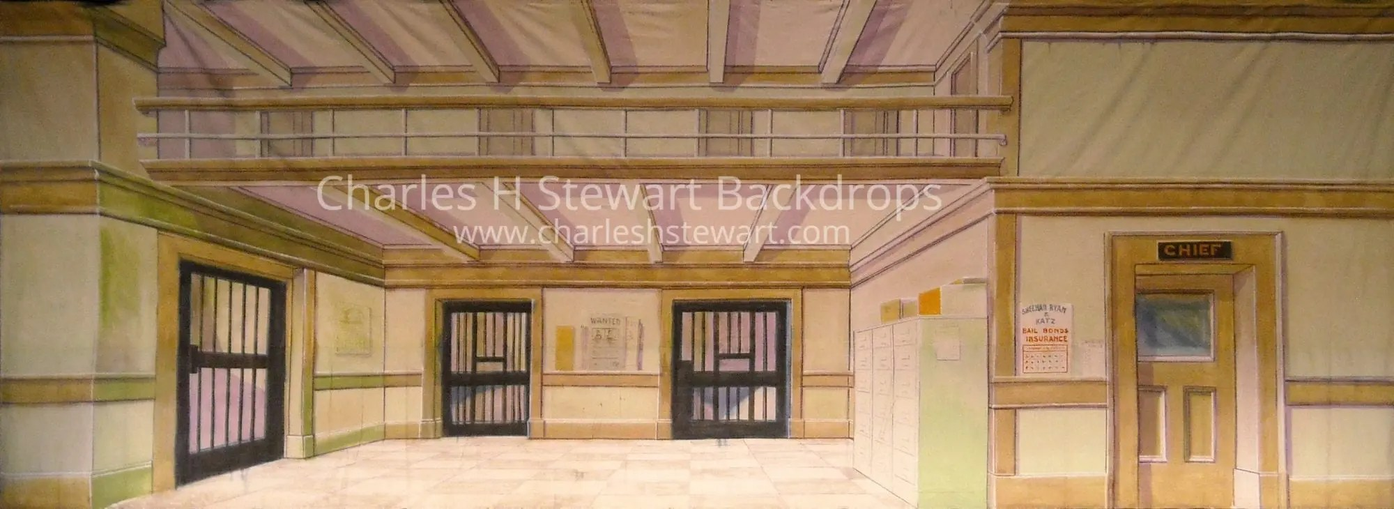 Police Station Backdrop  Backdrops by Charles H Stewart