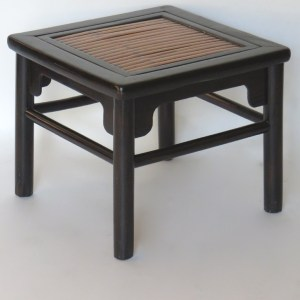 Black Lacquer Stool with Bamboo Top