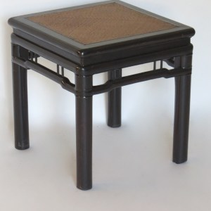 Black Lacquered Stool with Cane Top