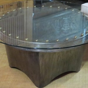 Architectural Bronze Coffee Table with Glass Top