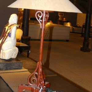 Chinese Lacquer Wood Candlestick as Table Lamp with Sugar Pine Veneer Shade