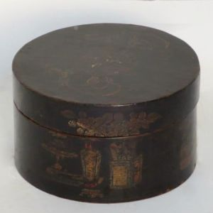 Black Lacquer Round Box, Shanxi Province, China Mid 19th Century