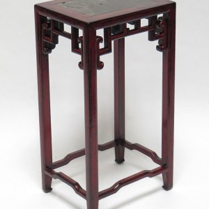 Red Lacquer Flower Stand w/ Stone Top
