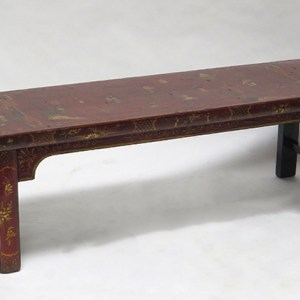 Red Crackled Painted Bench
