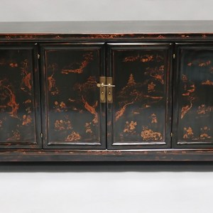 Black Lacquer and Gilt Painted Sideboard