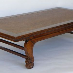 Elm Wood Kang Bed With Cane Top, Shanxi Province, China, 19th Century
