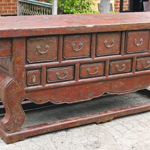 Red Crackle Lacquer Sideboard