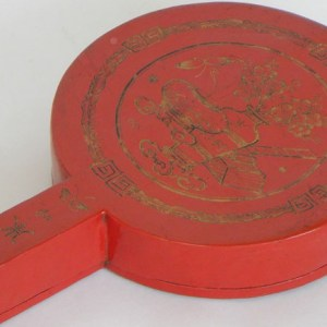 Red Lacquer and Gilt Painted Mirror Box, China, 19th Century