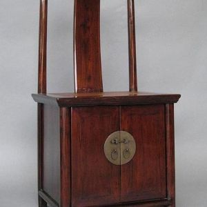 Elm Wood Chair with Lower Cupboard, Shanxi Province, China, Mid 19th Century