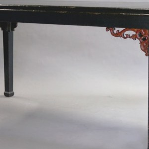 Black Lacquer Dining Table with Carved Red Laquer Apron