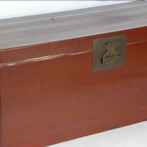 Red Lacquer Leather Trunk , Guangdong Province, China, Newly Made