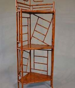 Bamboo 3 Shelved Corner Stand. Guangdong Province, New Made