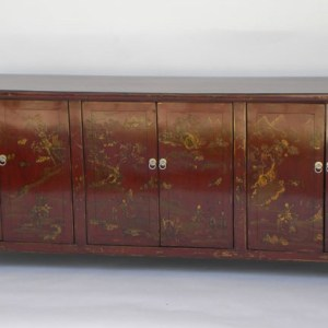 Red Lacquer and Gilt Painted Sideboard