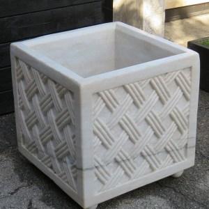 Square Lattice Design Marble Planter