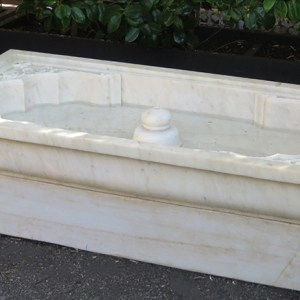 Hand Carved Rectangular White Marble Fountain
