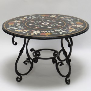 Iron Table Base with Round Marble Marquetry Top