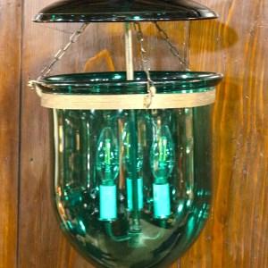 Antique Electrified Green Glass Hundi