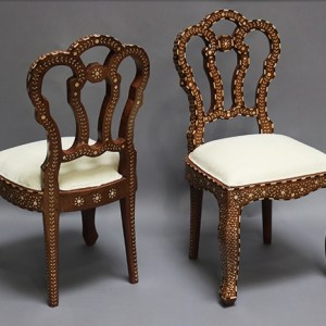 Wood and Bone Inlay Flower Chair