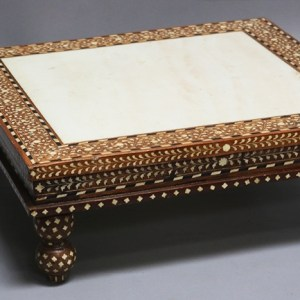 Wood and Bone Inlay Low Table with Marble Inset Top