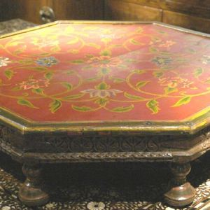 8 Sided Painted Wooden Bajot Table.