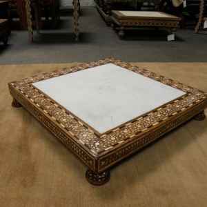 Wood and Bone Inlay Low Square Table. India.