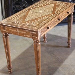Wood and Bone Inlay Desk with 3 Drawers