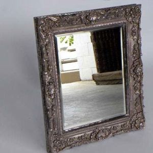 Carved Wood Mirror Frame With Silver Foil Covering