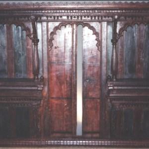 Wood Painted Jharsha (HINDU Temple) with Sliding Doors