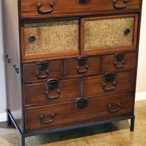 Tea Tansu Chest with Metal Stand