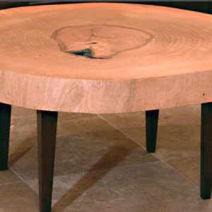 Ash Slab Table Top with Wood Legs