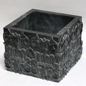 Black Lotus Carved Marble Base