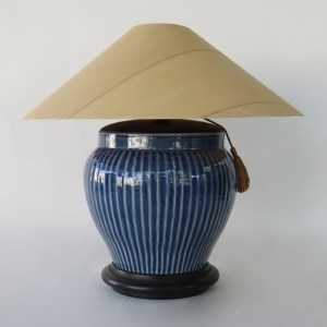 Cobalt Blue Ribbed Table Lamp with Sugar Pine Shade
