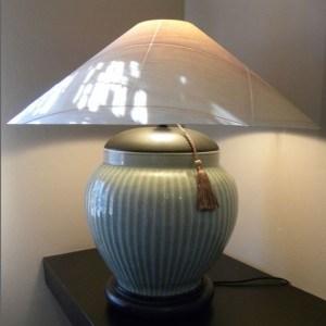 Celadon Table Lamp with Sugar Pine Veneer Shade