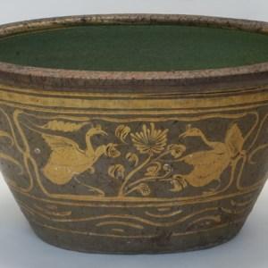 Oval Glazed Clay Pot