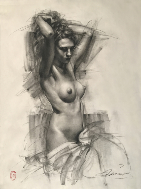 Charles Miano artwork Female Figure artwork Charcoal on Paper