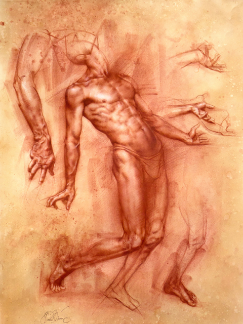 Study of Achilles, red chalk on paper, 17×22